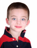 Young preschool boy isolated on white. Close-up portrait Royalty Free Stock Image