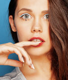 Young pretty adorable woman with candy close up Royalty Free Stock Photo