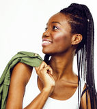 Young pretty african-american girl posing cheerful emotional on white background isolated, lifestyle people concept Royalty Free Stock Photos