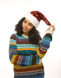 Young pretty african american girl in red hat Stock Photography