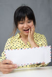 Young pretty Asian girl look surprised doc Stock Photography