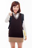 Young pretty Asian student indicate you Stock Photo