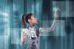 Young pretty asian woman inside digital world Stock Images