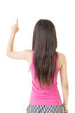 Young pretty asian woman pointing up Stock Images