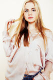 Young pretty blond teenage girl close up portrait, lifestyle peo Royalty Free Stock Image