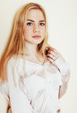 Young pretty blond teenage girl close up portrait, lifestyle peo Stock Image