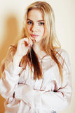 Young pretty blond teenage girl close up portrait, lifestyle peo Stock Photos