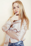 Young pretty blond teenage girl close up portrait, lifestyle people concept Stock Photo
