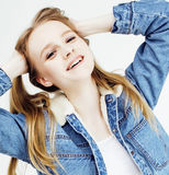 Young pretty blond teenage girl emotional posing, happy smiling isolated on white background, lifestyle people concept Stock Photos