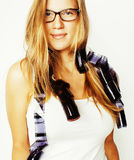 Young pretty blond teenage girl with film wearing glasses on whi Royalty Free Stock Image