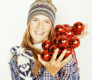 Young pretty blond teenage girl in winter hat and Stock Photography