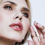 Young pretty blond woman in luxury jewelry, lifestyle rich people concept Stock Image
