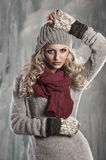 Young pretty blonde winter woman Royalty Free Stock Images
