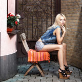 Young pretty blonde woman Royalty Free Stock Photography