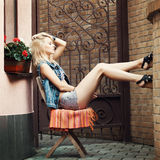 Young pretty blonde woman Royalty Free Stock Photos