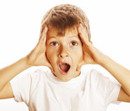 Young pretty boy wondering face isolated gesture close up Royalty Free Stock Photos