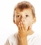 Young pretty boy wondering face isolated gesture close up Stock Images