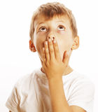 Young pretty boy wondering face isolated gesture close up Royalty Free Stock Image
