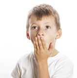 Young pretty boy wondering face isolated gesture close up Royalty Free Stock Photography