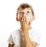 Young pretty boy wondering face isolated gesture close up Royalty Free Stock Photo
