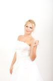 Young pretty bride in white wedding dress Stock Image