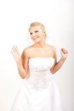 Young pretty bride in white wedding dress Royalty Free Stock Photos
