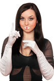 Young pretty brunette gesturing. Isolated Stock Photos