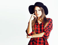 Young pretty brunette girl hipster in hat on white background casual close up dreaming smiling stock images