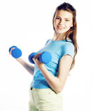 Young pretty brunette woman with blue dumbbell isolated cheerful smiling, part of body, diet people concept on white Royalty Free Stock Photo