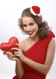 Young pretty brunette woman in christmas or santas Stock Photo