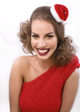 Young pretty brunette woman in christmas or santas Stock Photography