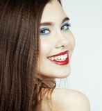 Young pretty brunette woman with hair on face seduction close up Stock Photography