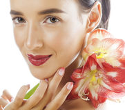 Young pretty brunette woman with red flower amaryllis close up isolated on white background. Fancy fashion makeup Stock Images