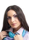 Young pretty brunette woman studio isolated Stock Photos