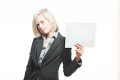 Young pretty buisnesswoman hold a white banner Royalty Free Stock Photo