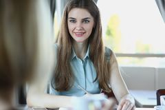 Young pretty business ledy sit in cafe stock images
