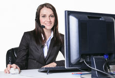 Young pretty business woman with computer in the Stock Photo