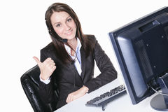 Young pretty business woman with computer in the Royalty Free Stock Photography