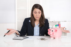 Young pretty business woman count money Stock Photo
