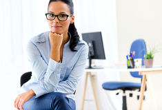 Young pretty business woman in her office. Stock Images