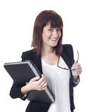 Young pretty business woman with notebook Stock Image
