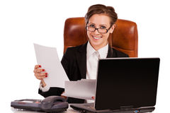 Young pretty business woman with notebook Stock Photo