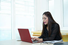 Young pretty business woman with notebook in the office.  Stock Photo