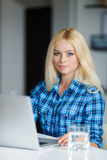 Young pretty business woman with notebook Royalty Free Stock Photo
