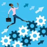 Young pretty business woman run on the gears to success Royalty Free Stock Images