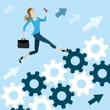 Young pretty business woman run on the gears to success Royalty Free Stock Photography