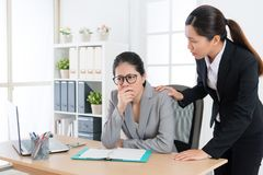 Young pretty business woman catch cold cough. Young pretty business women catch cold cough feeling uncomfortable and elegant office worker colleague girl care Stock Images