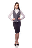 Young pretty businesswoman isolated. Full height portrait Stock Photography