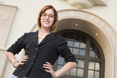 Young Pretty Businesswoman Outside in Front of City Hall Stock Photos