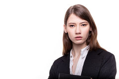 Young pretty businesswoman or student in suit stock image Stock Photography